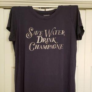 Torrid Save Water Drink Champagne Tee
